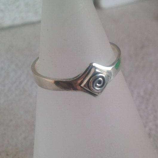 Silver ring with spiral wirework detail - SOLD