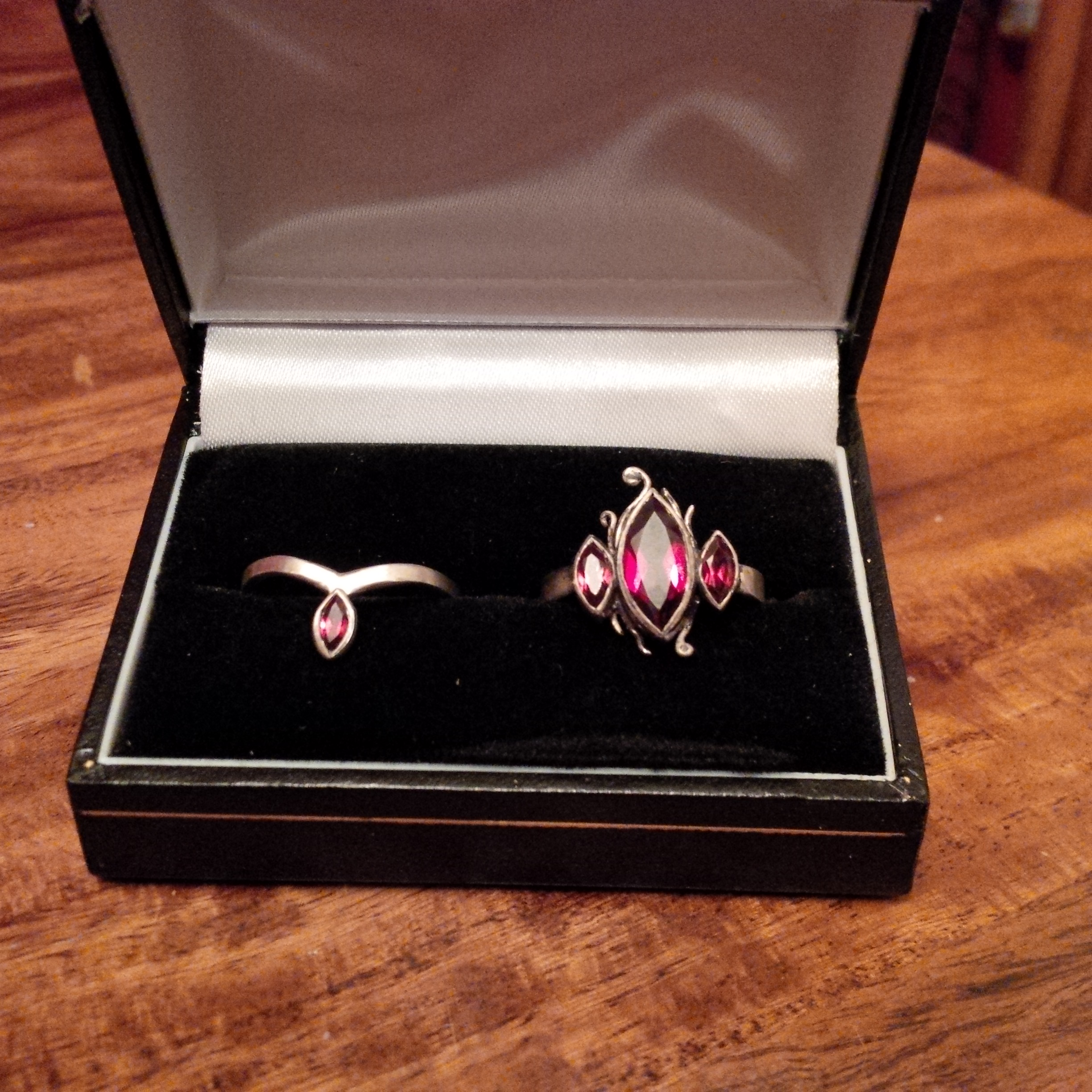 Silver rings with marquise cut garnets - NOT FOR SALE