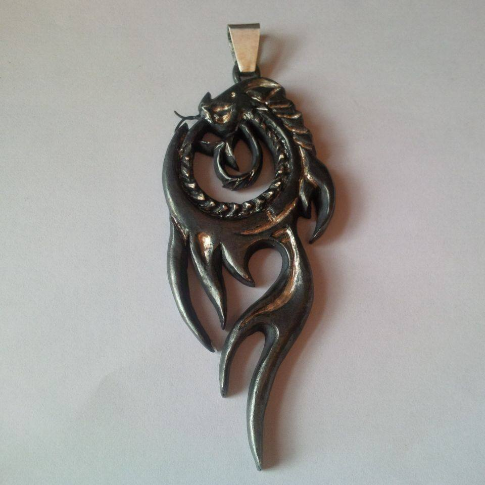 Oxidised silver dragon pendant - SOLD