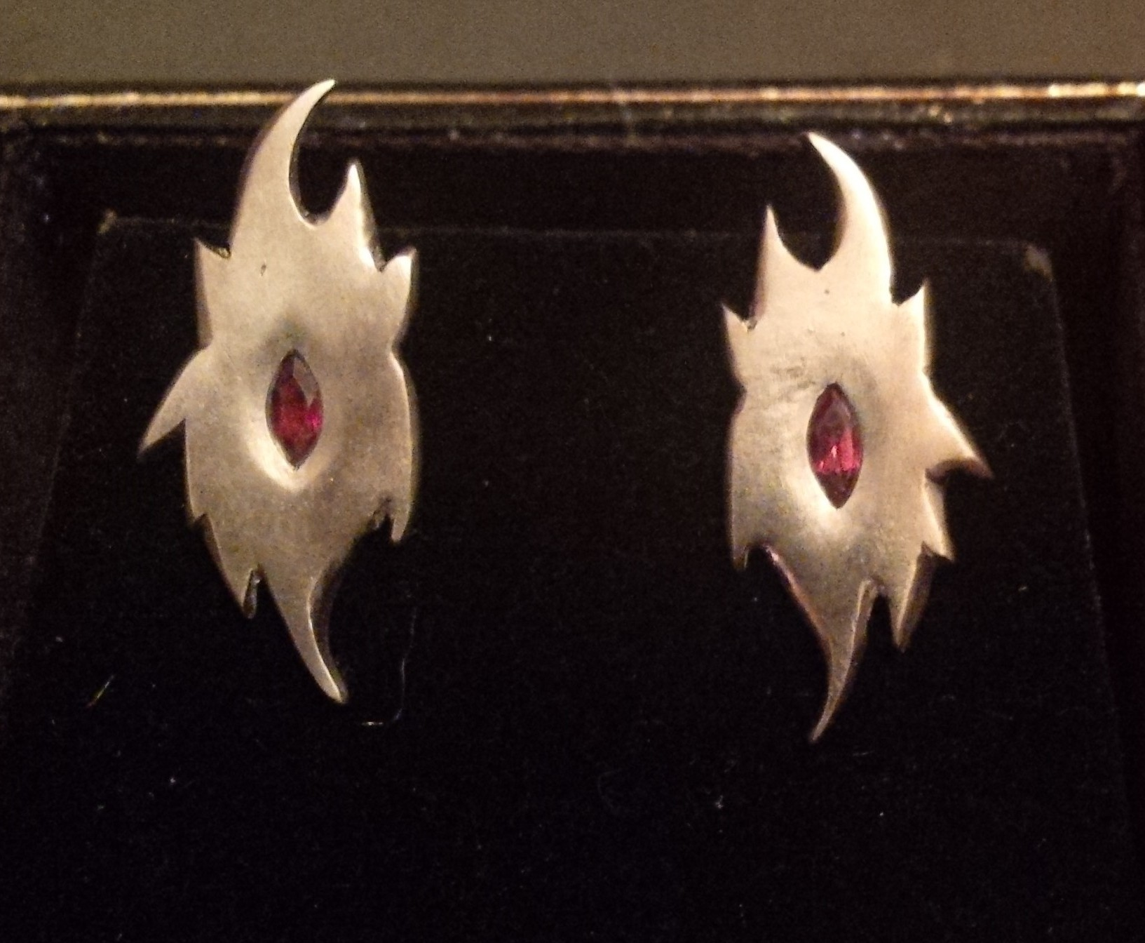 Silver earrings with marquise cut garnets - NOT FOR SALE