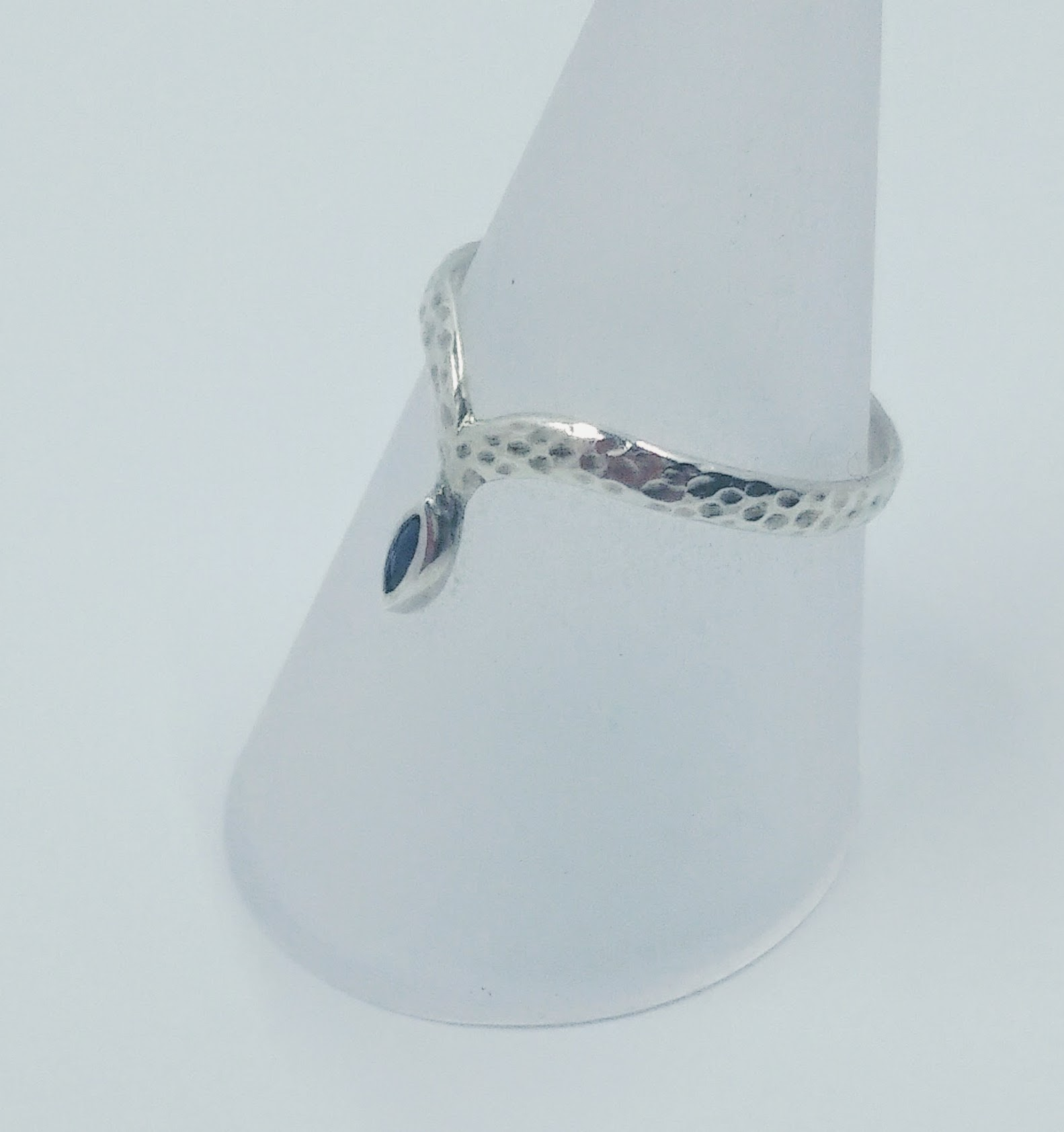 Silver textured 'diadem' ring with a marquise-cut sapphire -  BUY