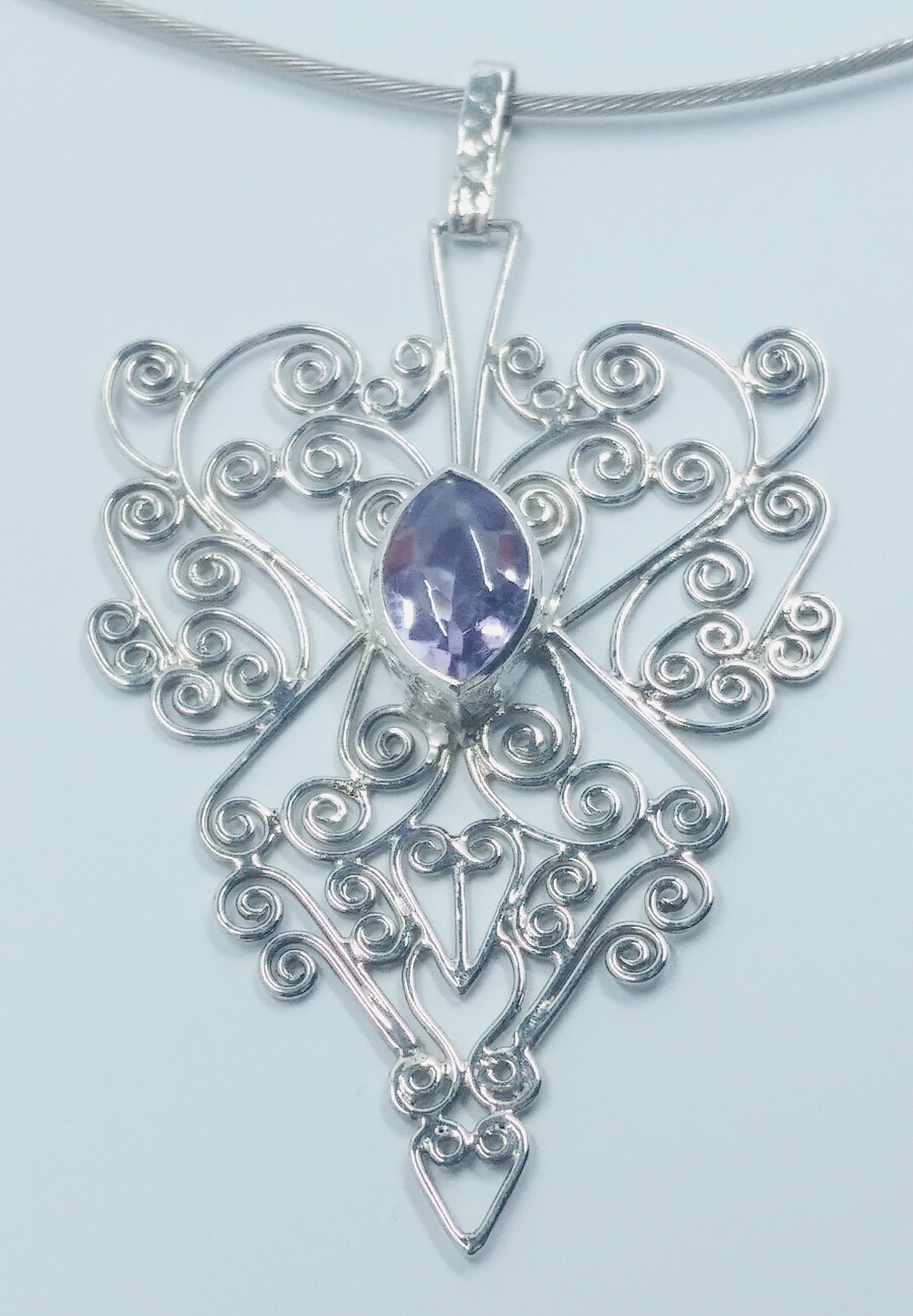 Silver wirework pendant with central marquise cut amethyst -  BUY