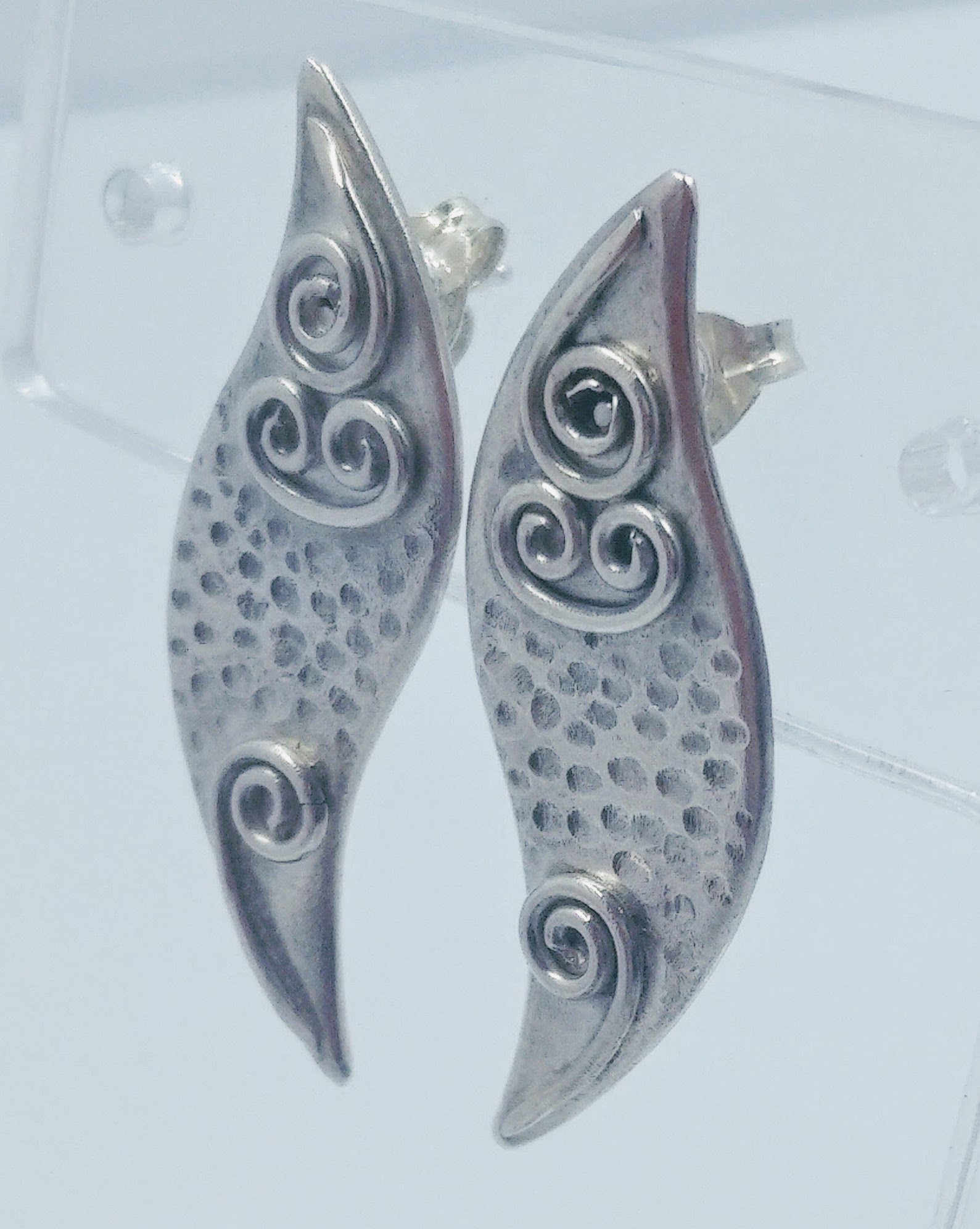 Silver textured earrings with wirework detail -  BUY
