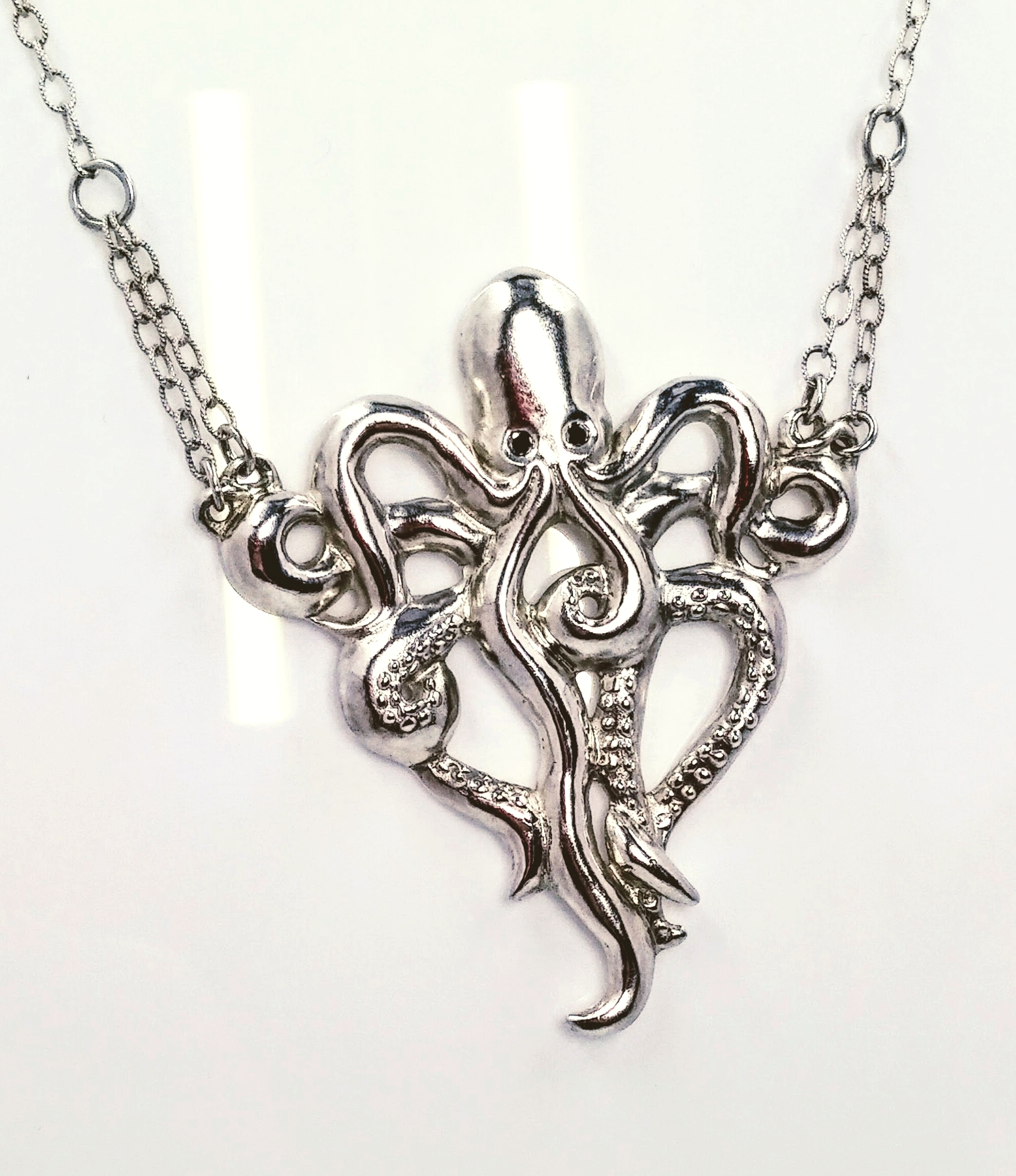 Large silver octopus necklace with black diamond eyes - SOLD