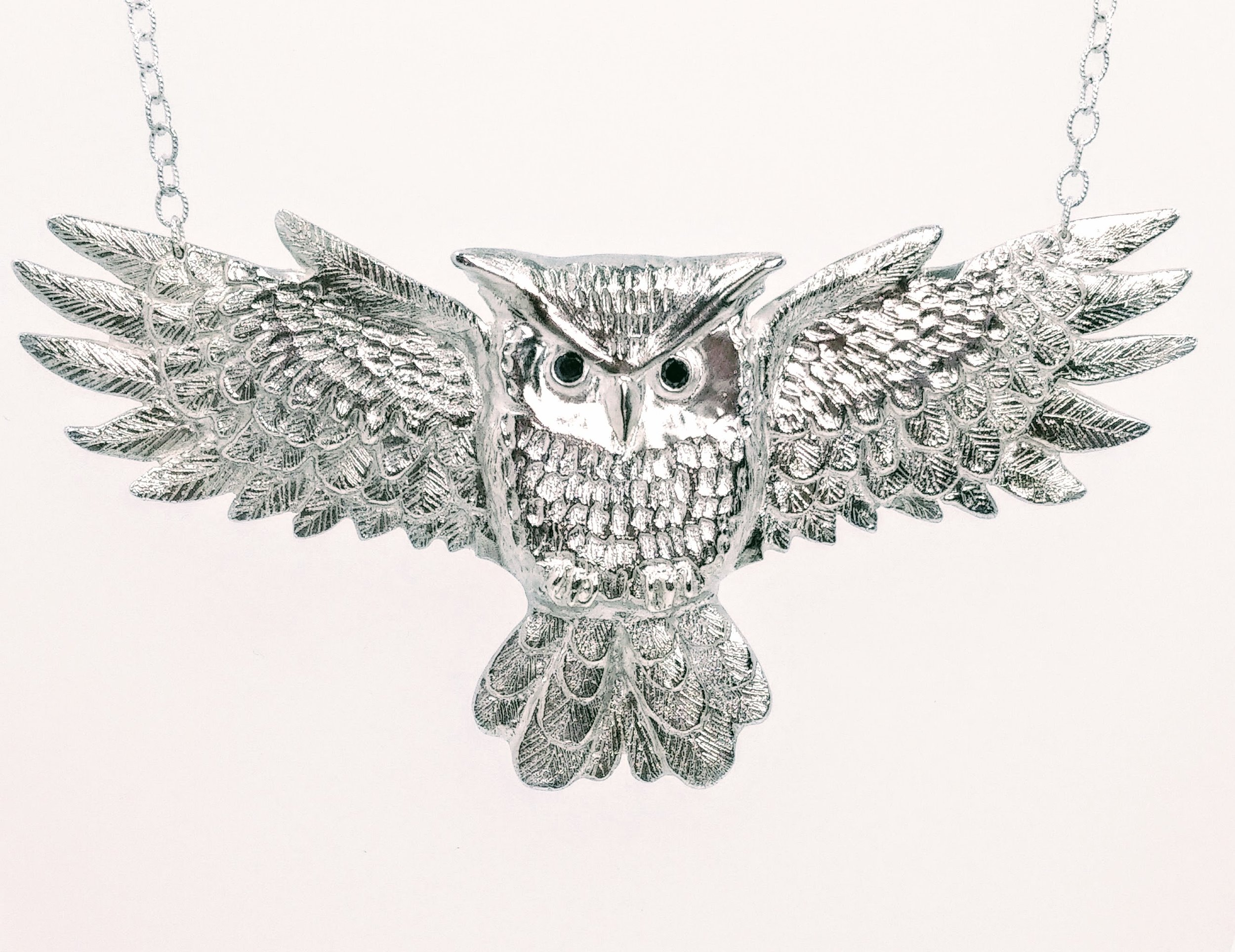 Large, silver owl necklace with black diamond eyes -  BUY