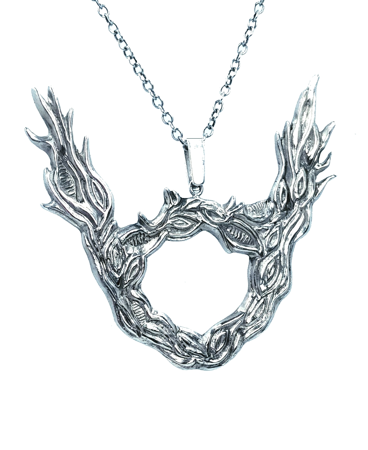 Large silver tree branch/ horned pendant