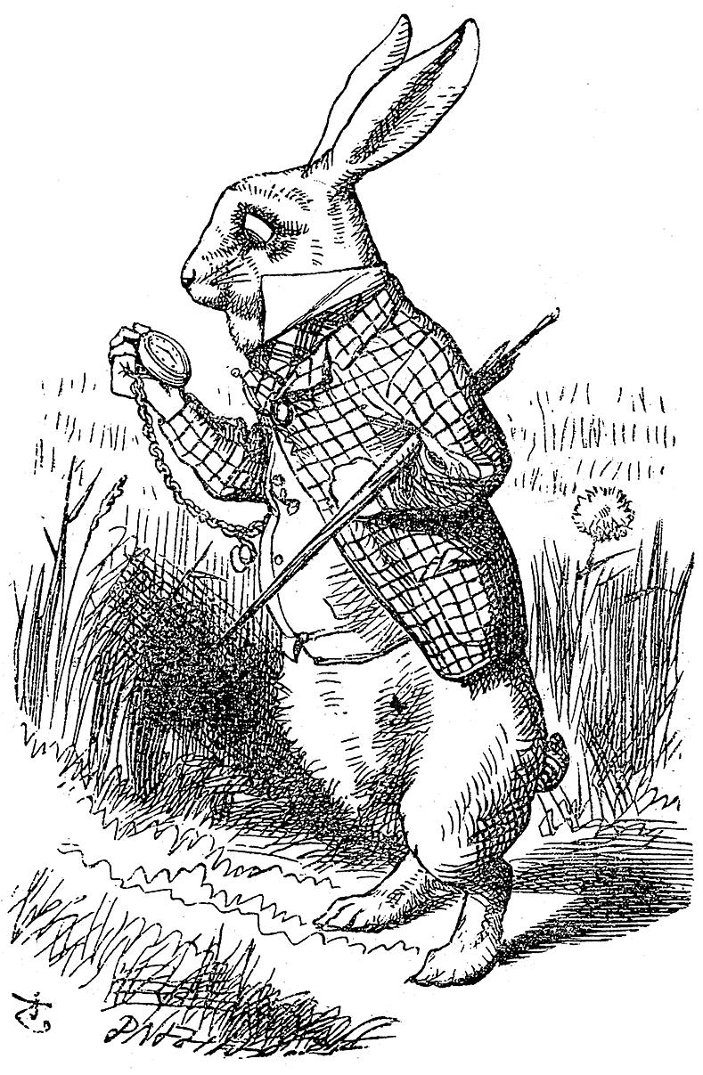 dari ALICE'S ADVENTURES IN WONDERLAND, oleh Lewis Carroll, ilustrasi oleh John Tenniel. Macmillan and Co, London, 1898.