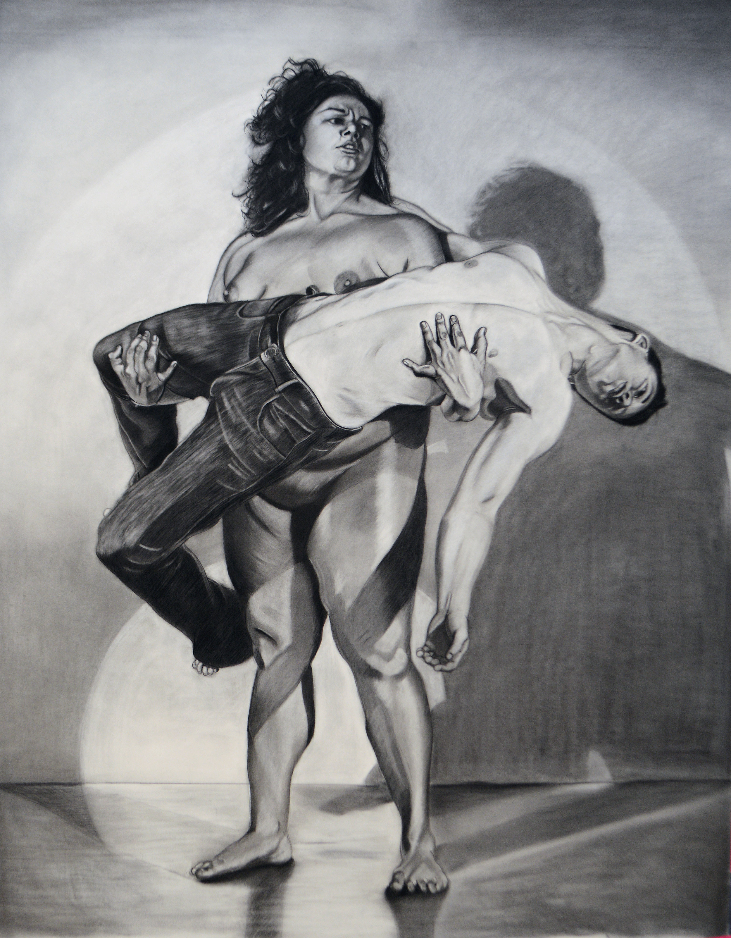 Pieta 89 x 72 inches, Charcoal on paper