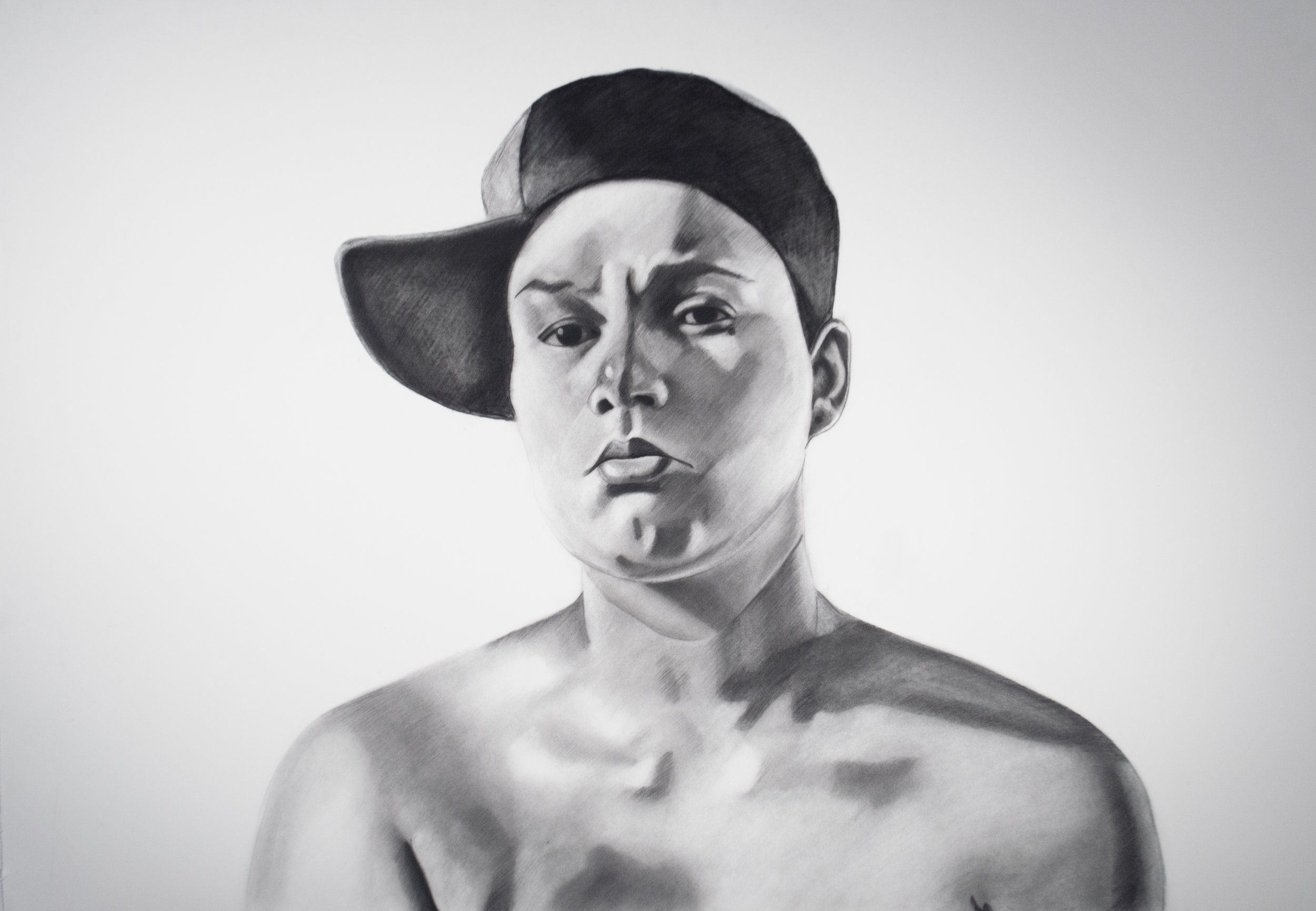 Muñeca, 37 x 50.5 Inches, Charcoal on paper.