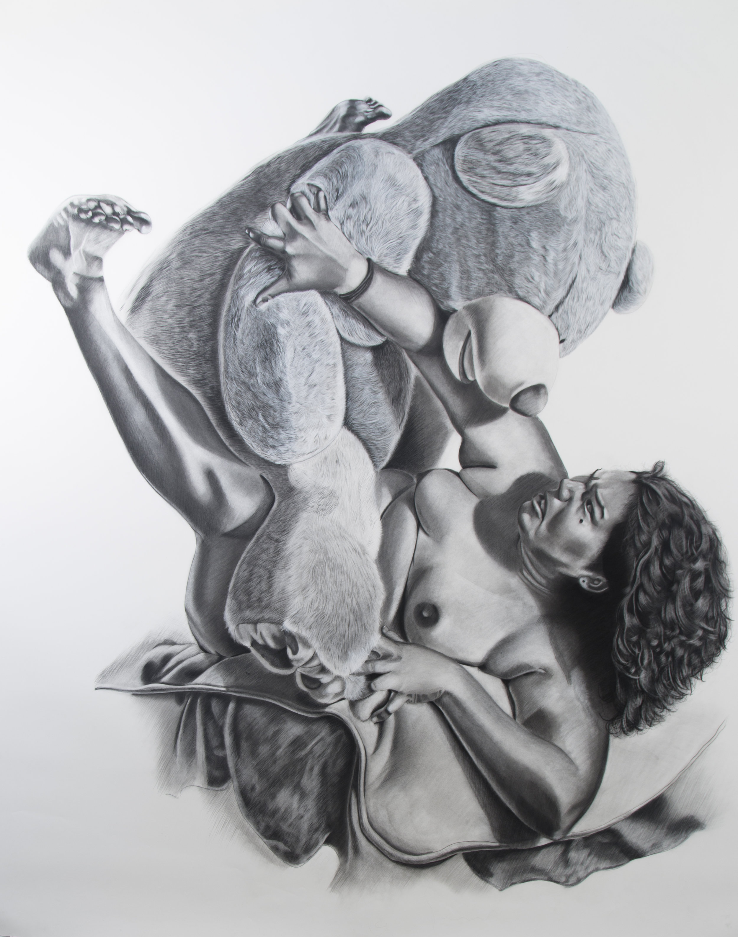 You're going to have to ask a lot nicer than that , 90 x 72 inches, Charcoal on paper. 2016