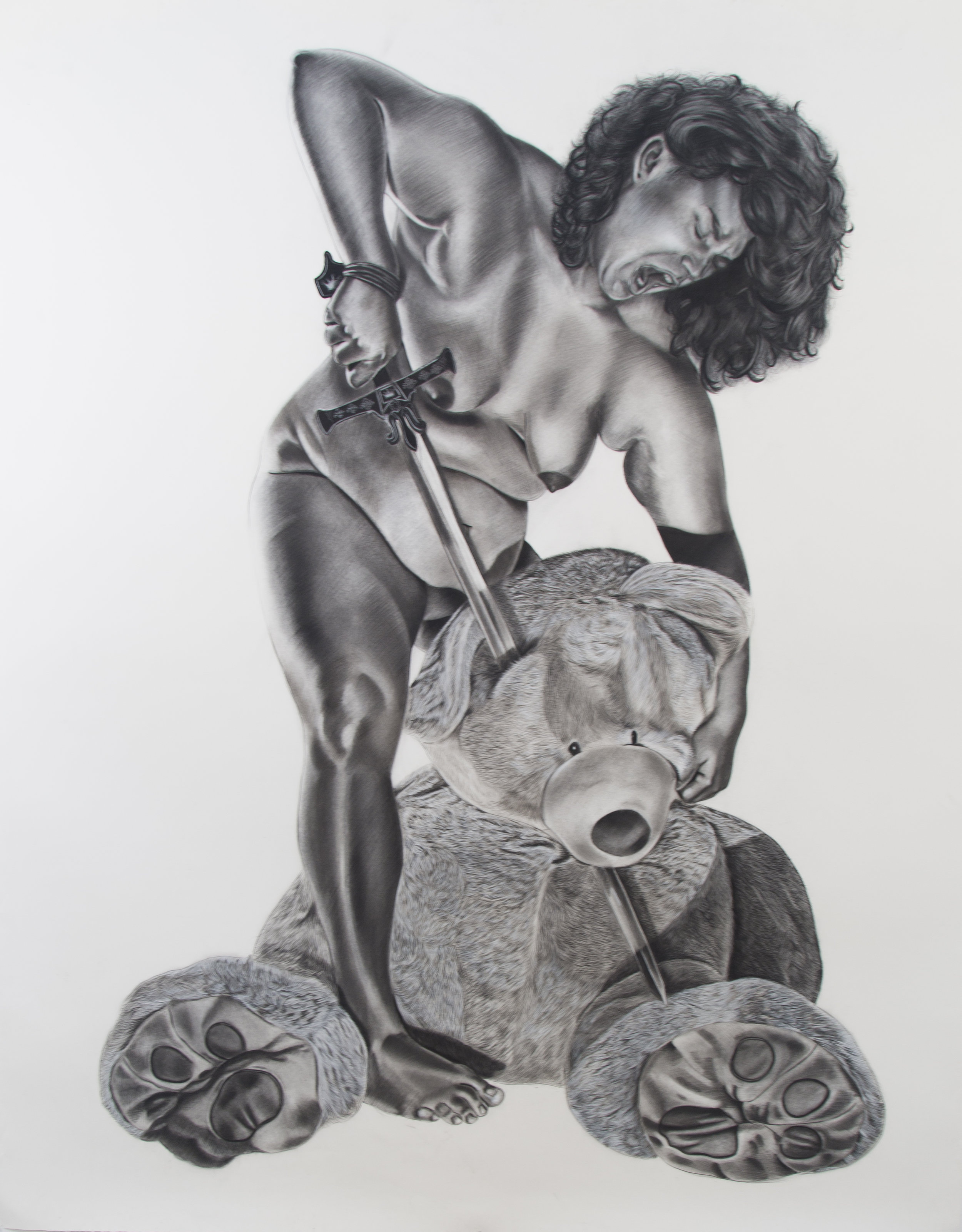 Slaying Lester , 90 x 72 inches, Charcoal on paper. 2016.