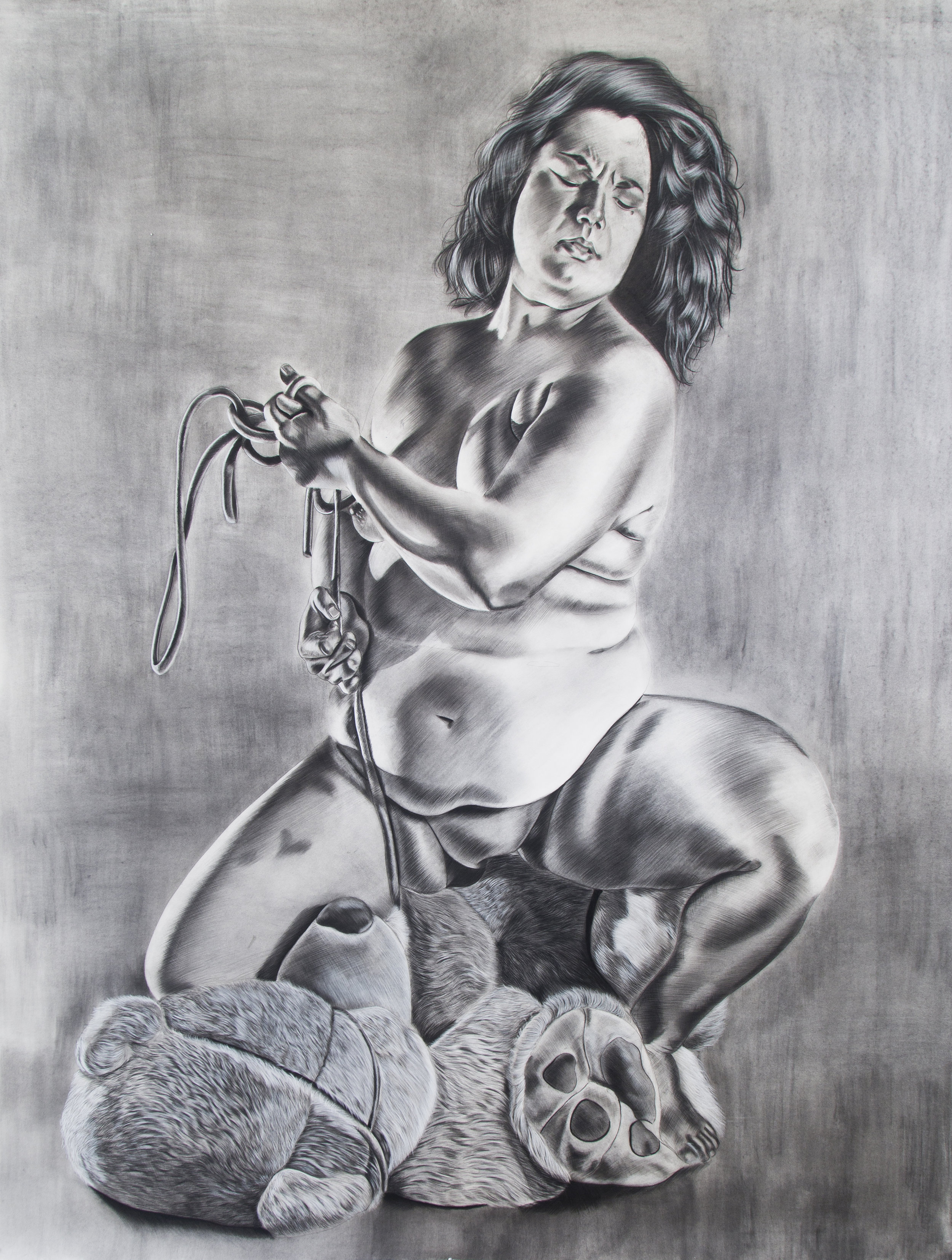Freak on a Leash,  93 x 72 inches, Charcoal on paper. 2016