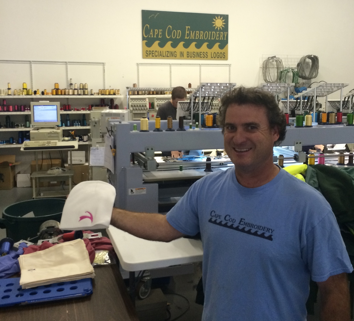 """David Condon, owner of Cape Cod Embroidery, showing off the """"Offseason"""" winter hat. Cape Cloth supports Cape Cod business!"""