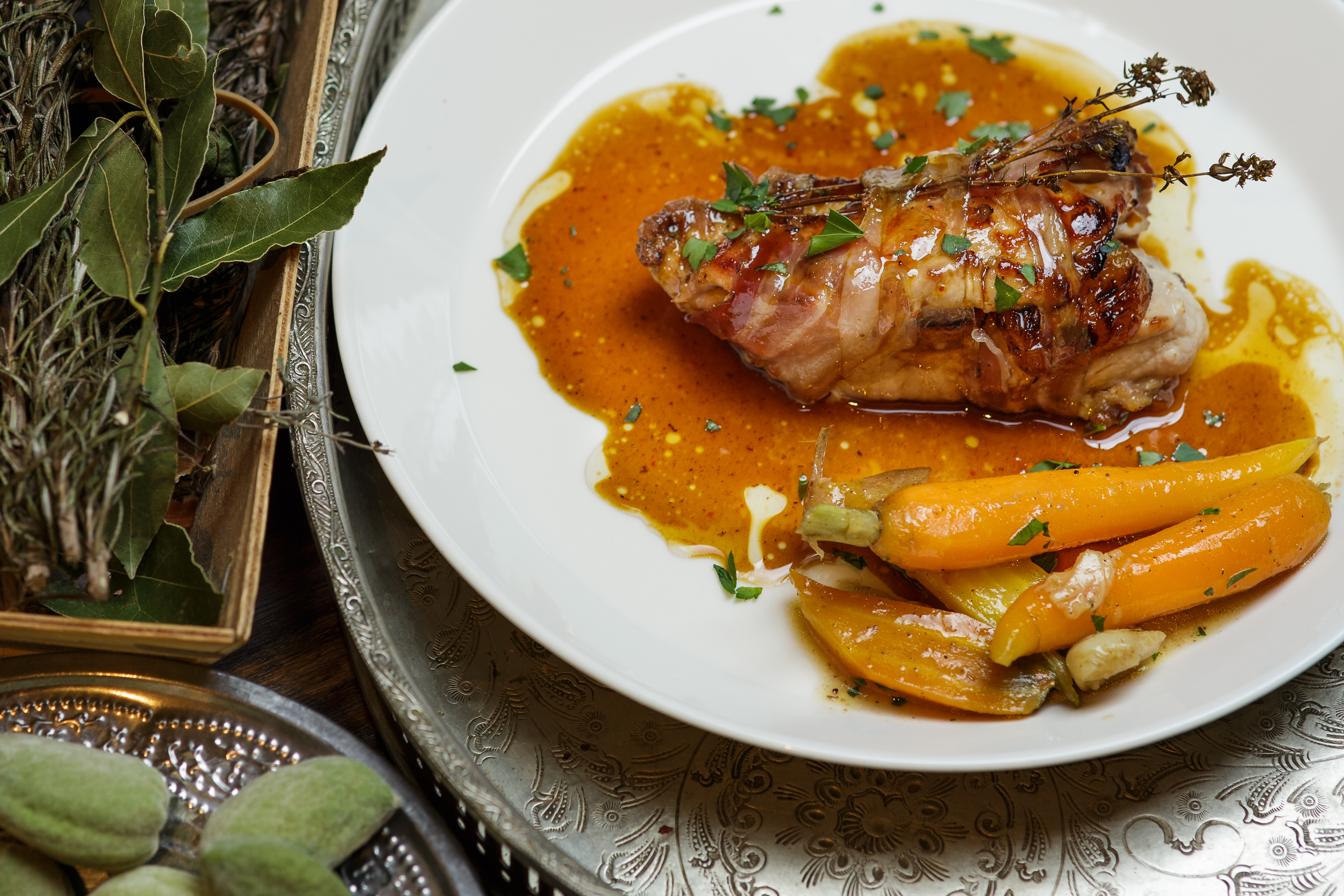 chicken with dried apricot and tender carrots. Image Valentine tchoukhounine