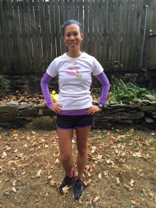 Tanya wearing her Girls on the Run SoleMate's Tech-T