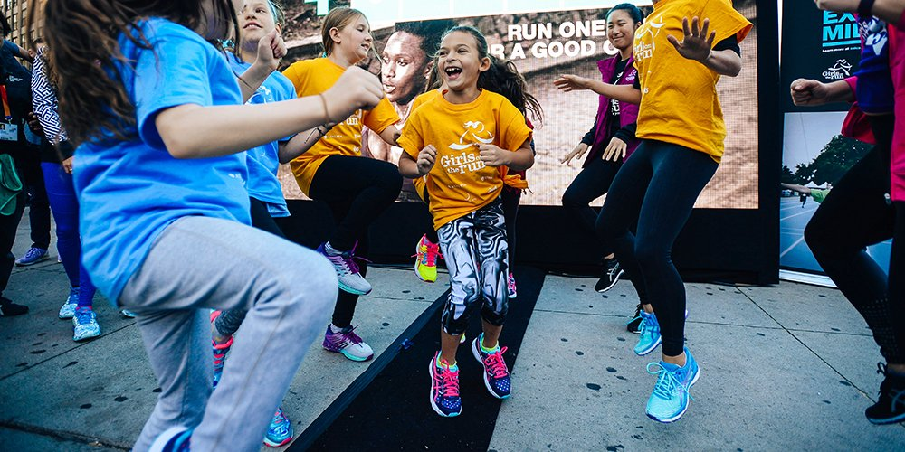 Our team did warm-ups and energy awards for everyone in Columbus Circle who were supporting Girls on the Run!