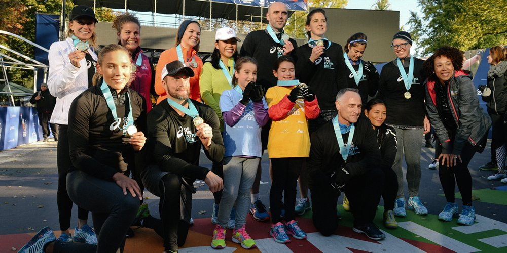 Our girls celebrated with ASICS athletes including Lolo Jones, Deena Kastor, and Gwen Jorgensen along with New York Road Runners President Michael Capiraso and ASICS VP of Marketing Roeya Vaughan.