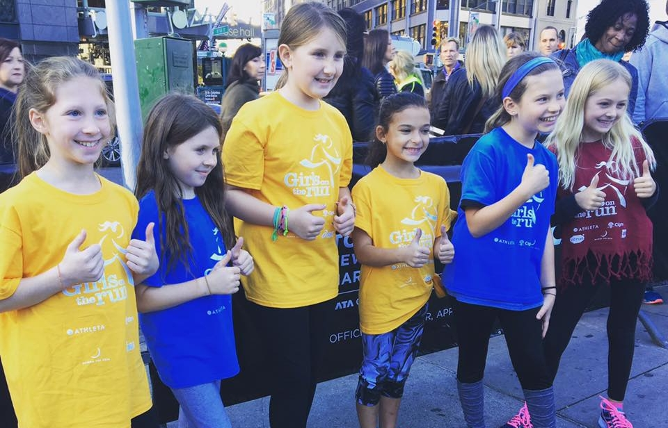 These Girls on the Run came to thank everyone who joined the #ExtraMile challenge in Columbus Circle!