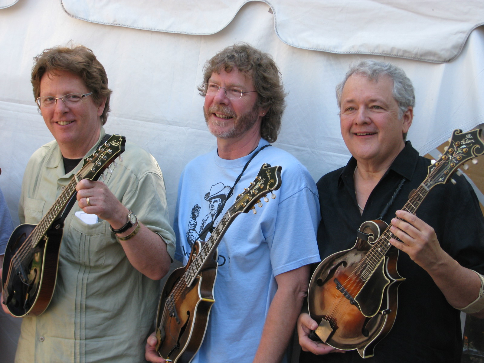 Tim O'Brien , Sam Bush & Tony Williamson Mandomania 2011 at  Merlefest! ! (photo by Francois Galland)