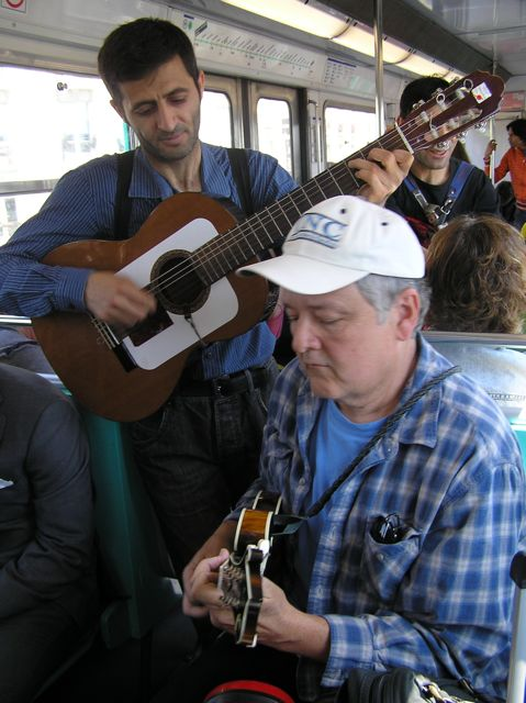 Tony jams with busking Gyspies on the Paris Metro! ( Photo by Andrea Deyrup)