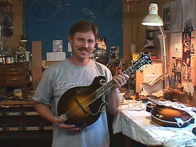 Paul Duff in his shop with a newly completed H-5 Mandola