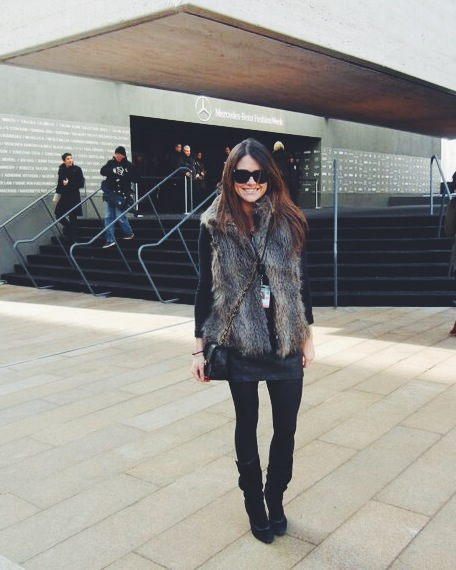 Outside Lincoln Center before attending a show.