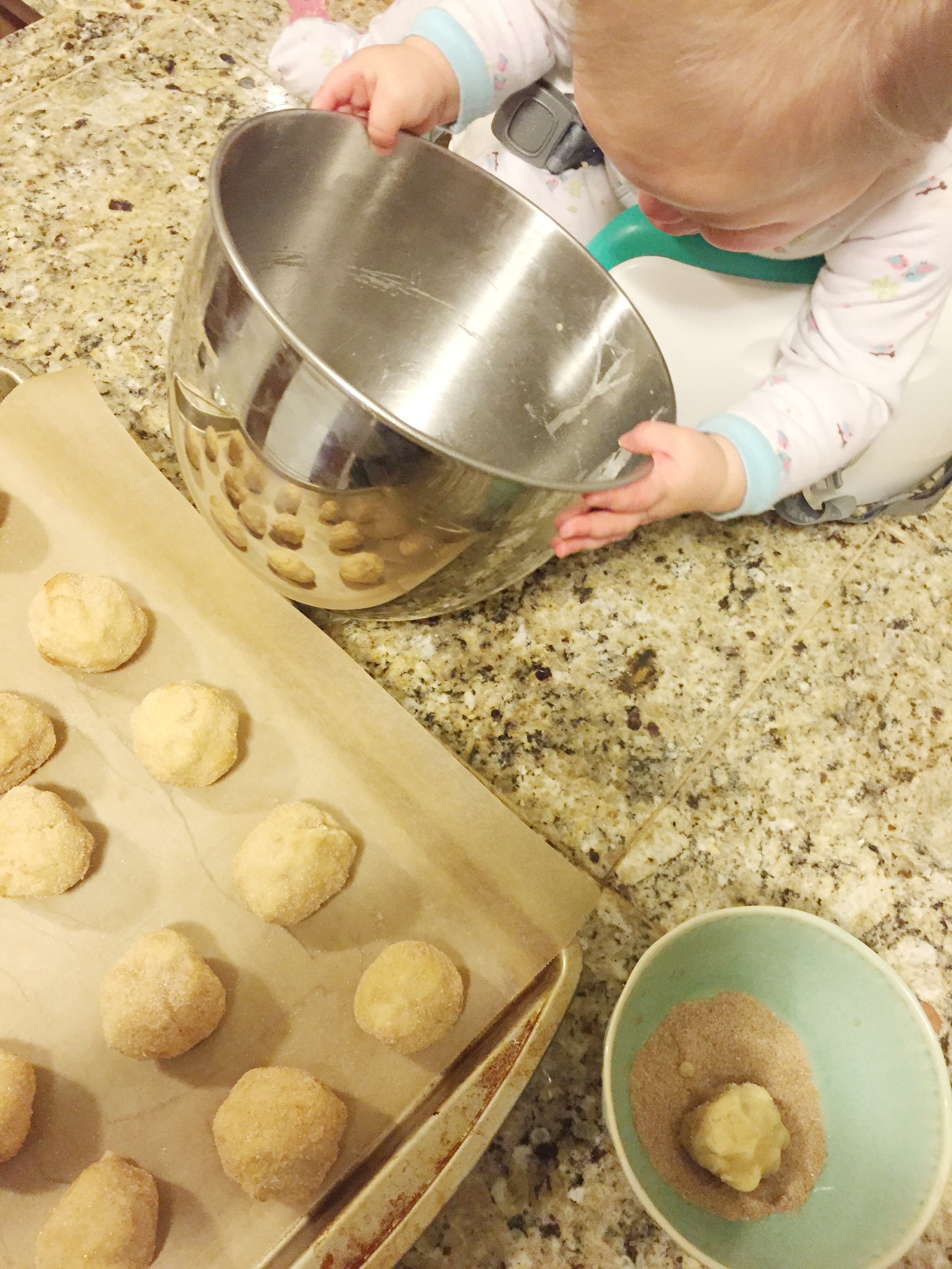 My snickerdoodle baking partner, Stella