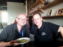 Eric having some lunch with Dave Weckl