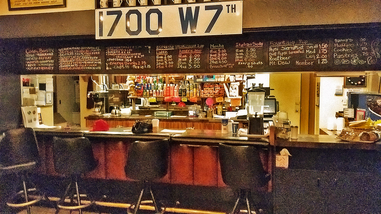 Expersso, Latte, Regular Coffee, Tea, Snacks all available at the Bar