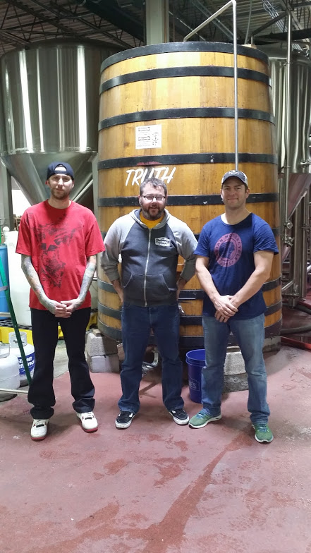 Brad, Neshaminy's Head Brewer Jeremy Myers, and Kevin at Neshaminy Creek Brewing Company in Croydon, PA.