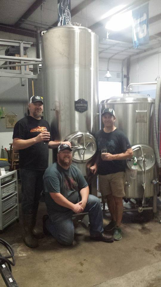 Whitewall Brewing Company co-owners Sean Wallner and Aaron Wight with Kevin in front of their 7BBL Fermenter.