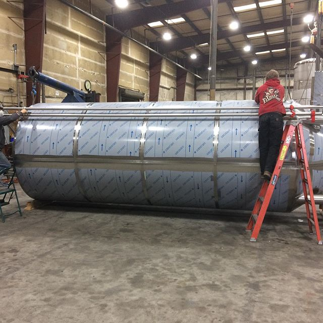The 100 barrel fermentation vessel for @greatnorthernbrewing out the door and on its way to Whitefish, Montana. #beer #craftbeer #brewery #stainlesssteel #welding #metalfab #americanmade #whitefish #montana