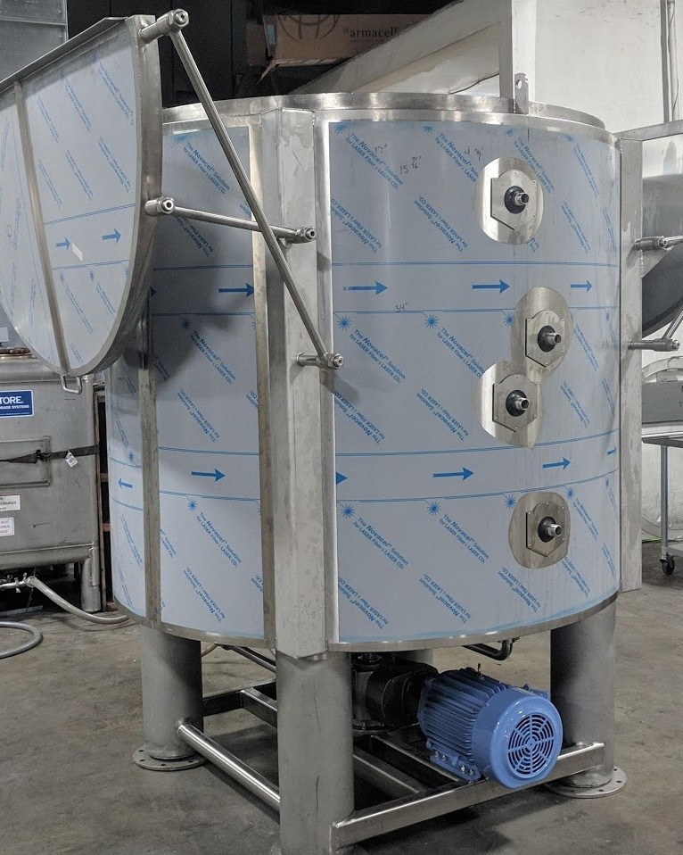 3000 L Centrifuge - Cryogenic Ethanol Wash and Centrifuge.- 500 lb batch size, 15 min wash, 15 min spin- 2 zone Jacketed and Insulated.- 350 RPM, 10 HP, 5:1 Gear Drive