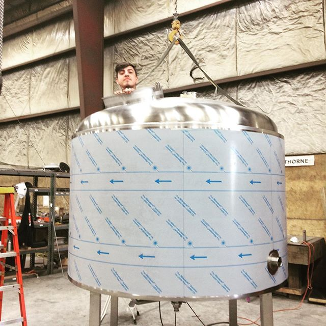 Our guy Isaiah working on a mash lauter tun for our friends at @ncbcbeer. #beer #craftbeer #brewery #stainlesssteel #welding #metalfab #americanmade #croydon #pennsylvania