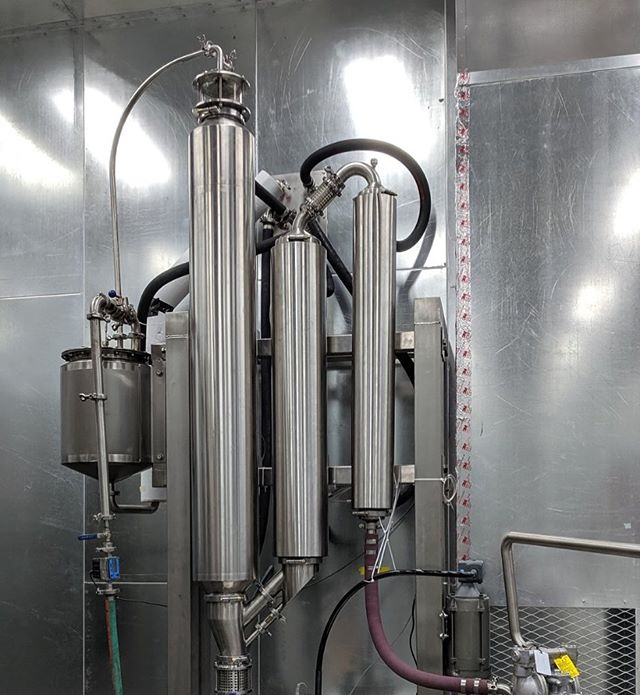 This is our falling film evaporator.  It's the jewel of our extraction line.  It can recover 600 liters of alcohol an hour.  It has a 150 KW electric heater and 30 ton, 140 HP chiller.  Your options are a 120 liter vacuum purge and decarb receiver.  Also an integrated PLC automation that comes with web interface and a 600K BTU/HR integrated natural gas heater.  This is the second vessel towards distillate and isolate.  #cbd #cbdoil #cbdisolate #cbddistillate #hemp.  DM or call 971-319-6600 for pricing.