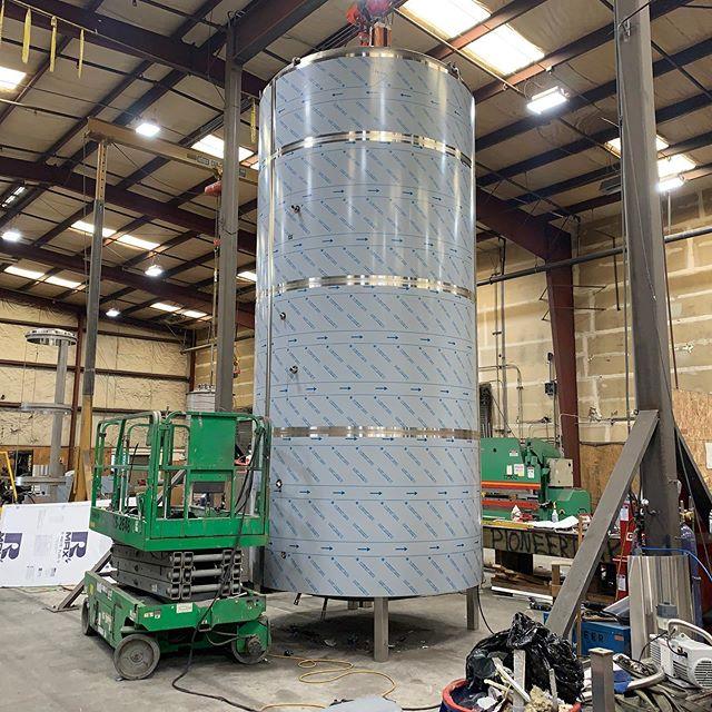 The 200 barrel brite for @pelicanbrewing with its skin on. #beer #craftbeer #brewery #stainlesssteel #welding #metalfab #americanmade