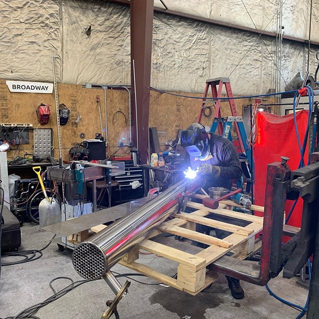 Armando working his magic on a heat exchanger for another falling film evaporator.  #cbd #cbdoil #cbddistillate #cbdisolate #hemp