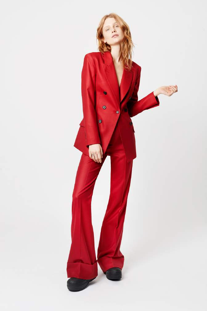 This look by SMYTHE will help you step out of your comfort zone with this neatly tailored red blazer. Available in August.