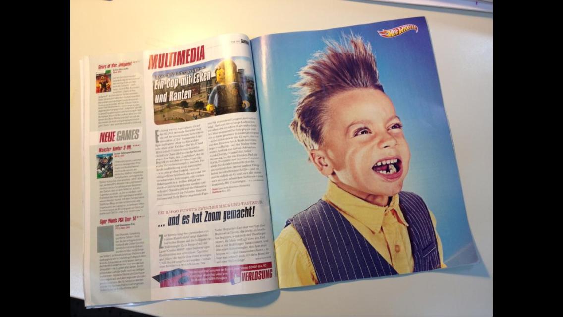 Benjy's Hotwheels Ad in a German magazine