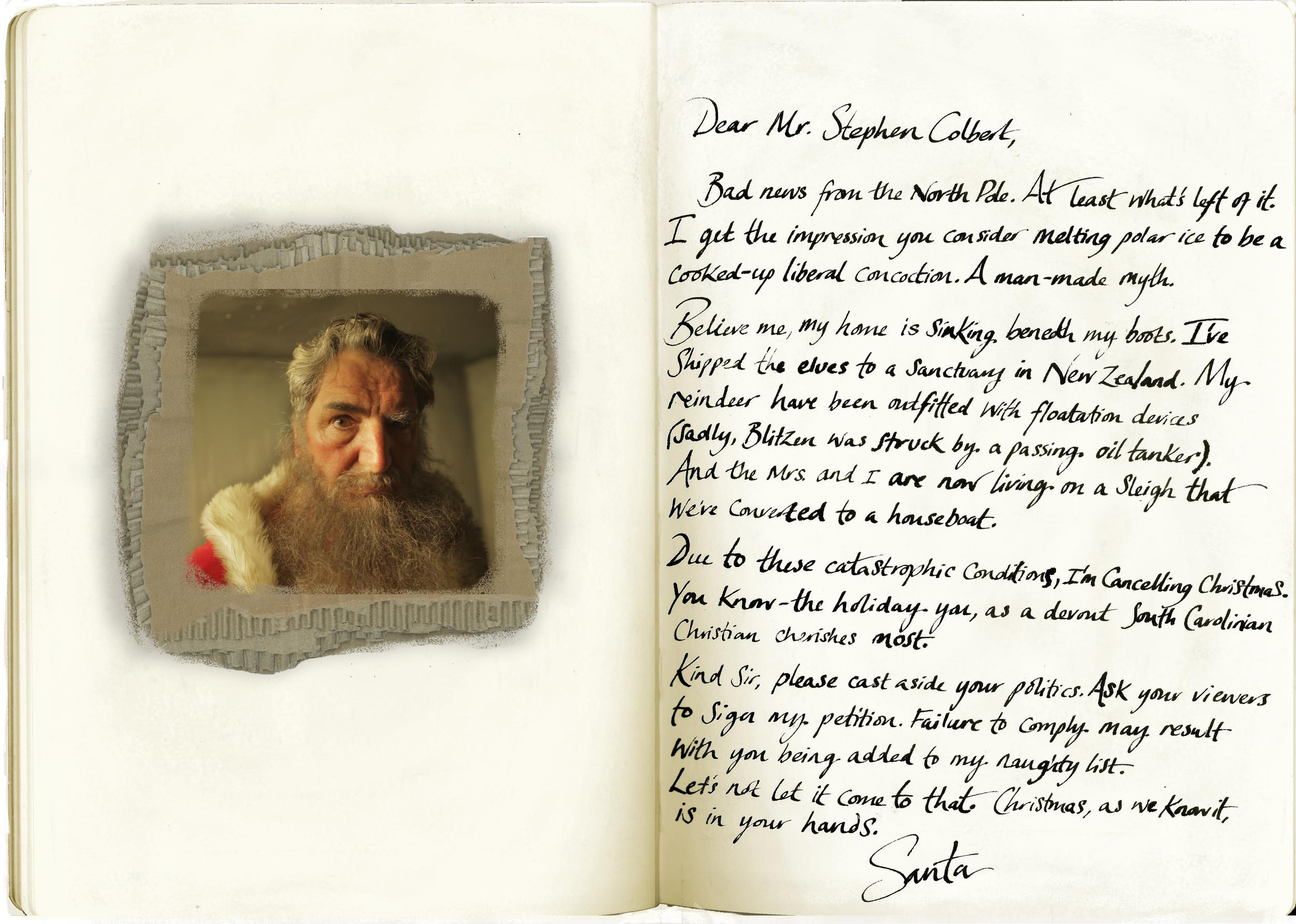 Santa's Desperate letter to Stephen Colbert