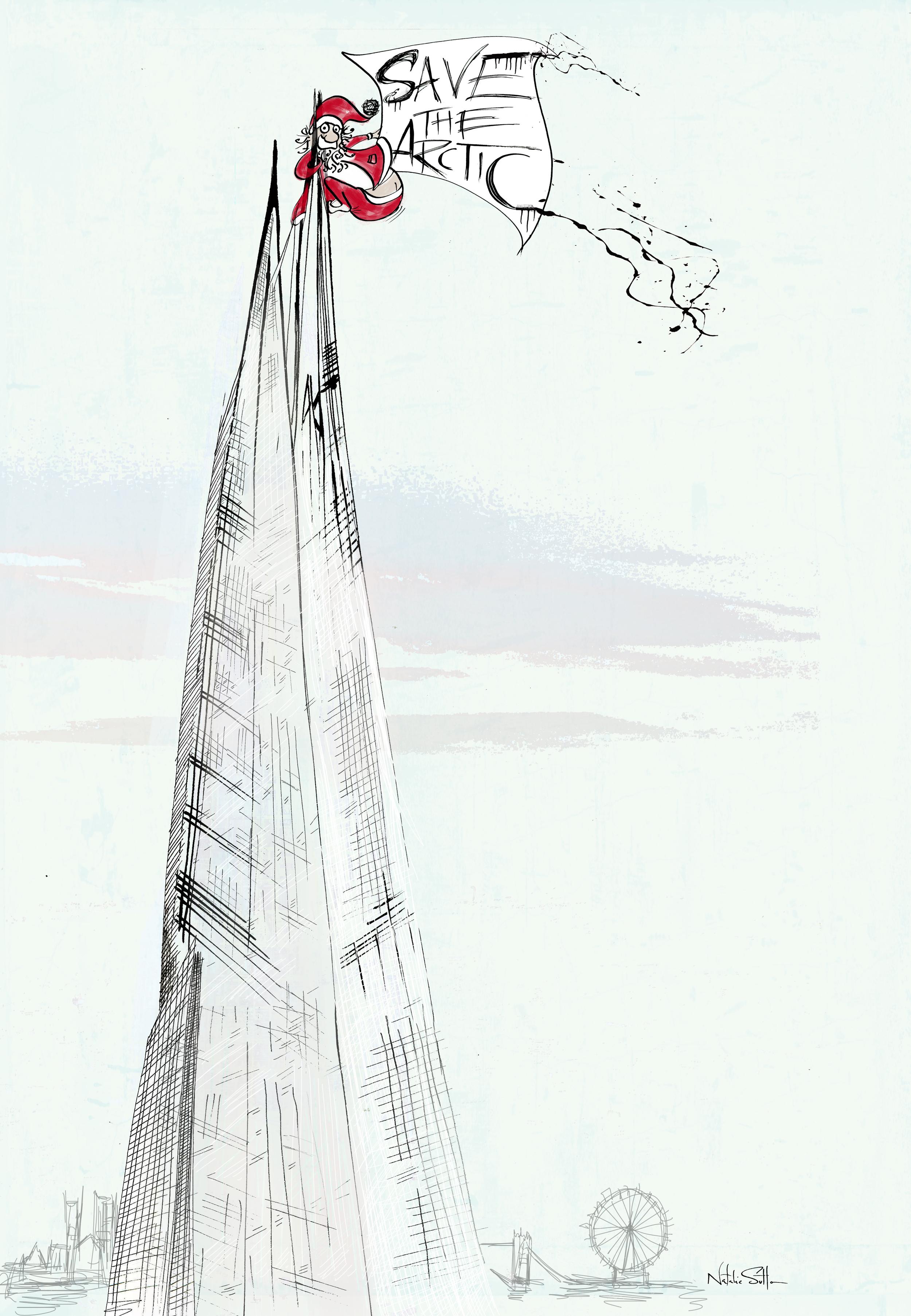 Santa up the shard_by illustrator & Art Director Natalie Sutton