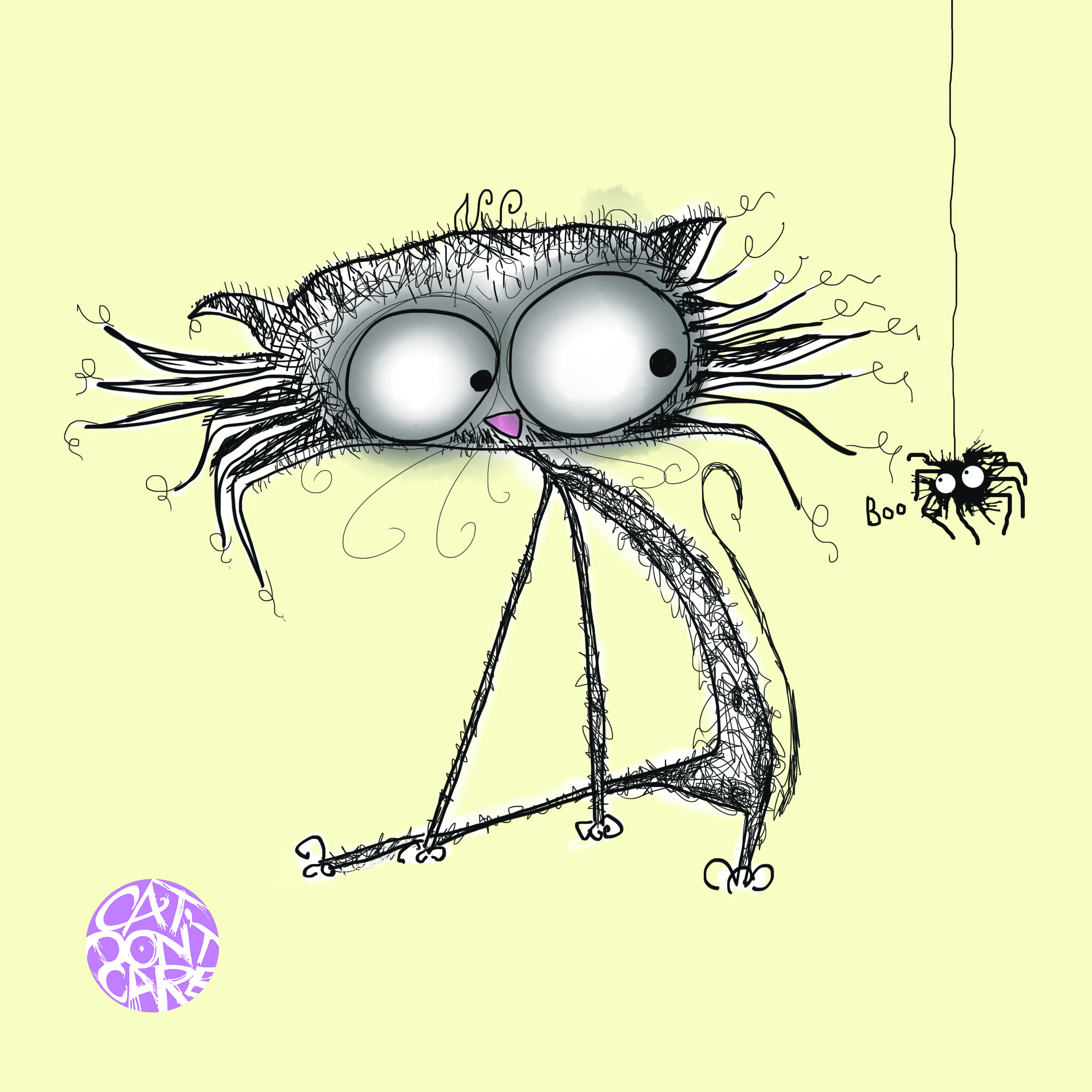 cat and boo spider funny cat dont care natalie palmer sutton illustration cat artist gifts for cat lovers
