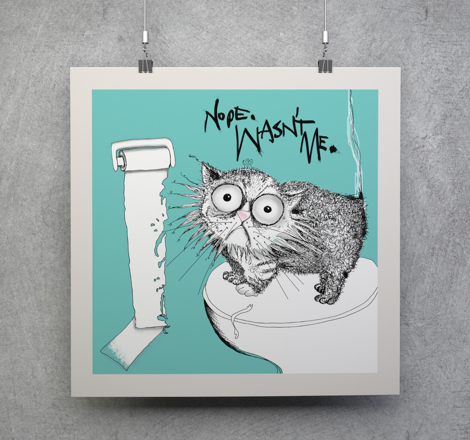 loo roll chomper| cat don't care | natalie palmer-sutton art