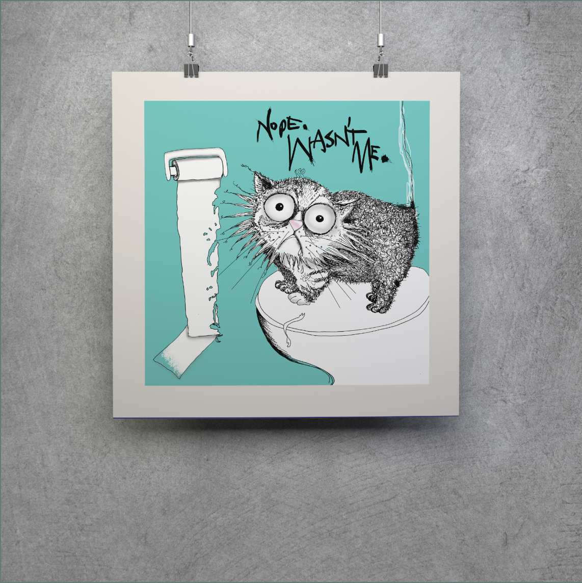 Loo roll chomper | cat don't care | natalie palmer-sutton art - medium size limited edition print for cat lovers