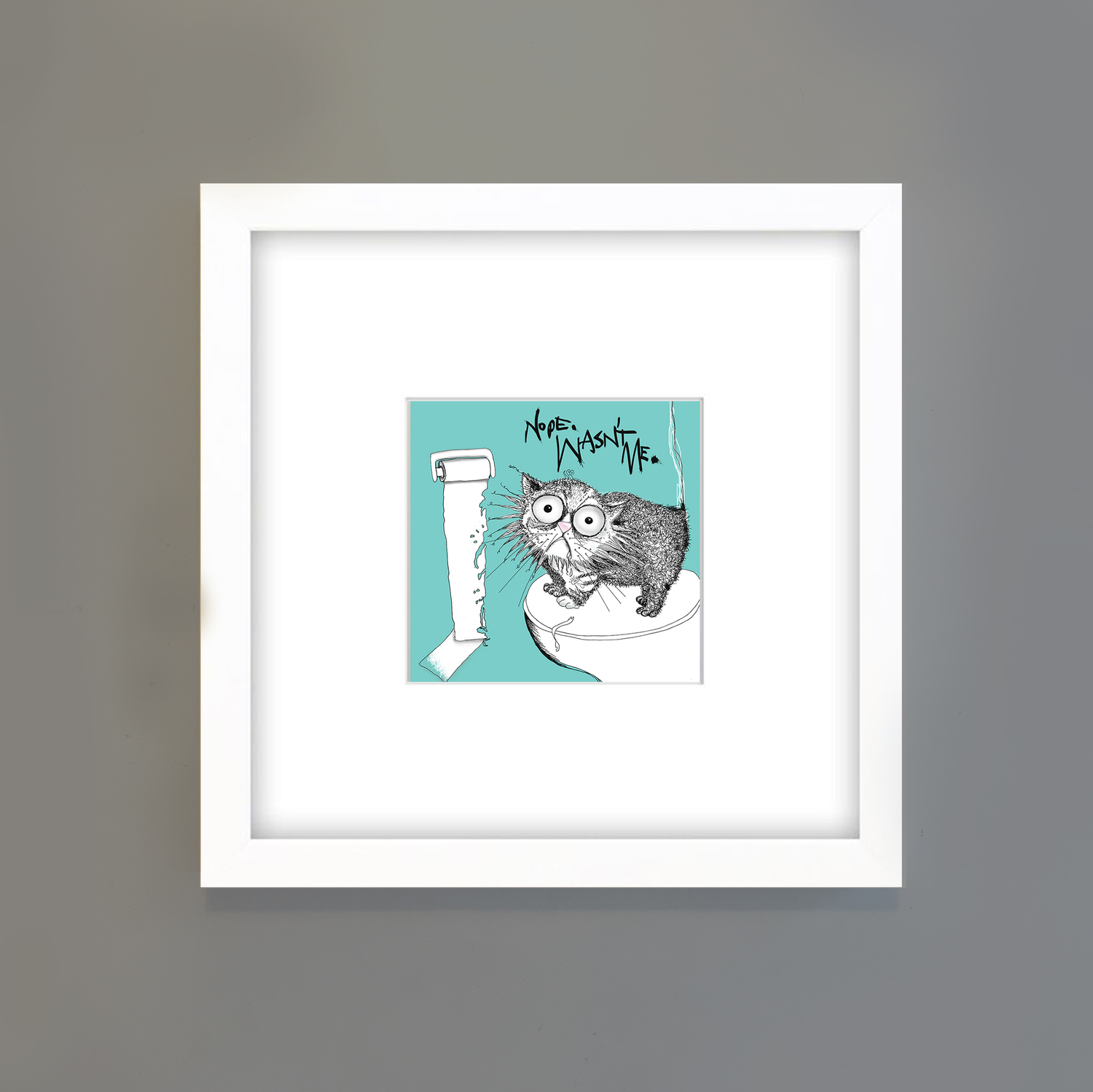 CAT DON'T CARE |Natalie Palmer-Sutton Art |limited edition prints for cat lovers +LOO+ROLL+CHOMPER_NATALIE+SUTTON_CAT+DONT+CARE.jpg