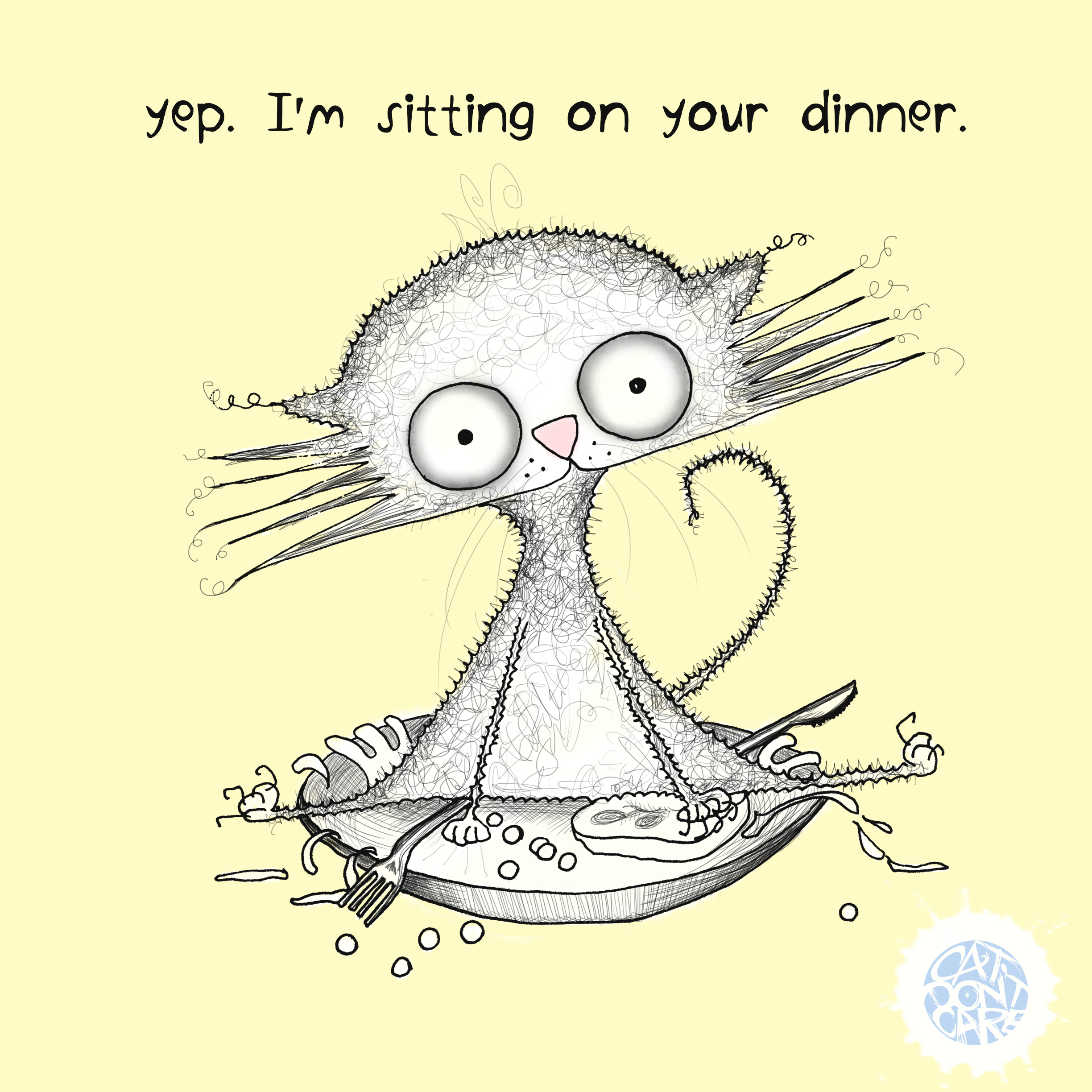 Cat sits on dinner plate - yep i'm sitting on your dinner - Natalie Palmer Sutton Illustration-animation - cat dont care