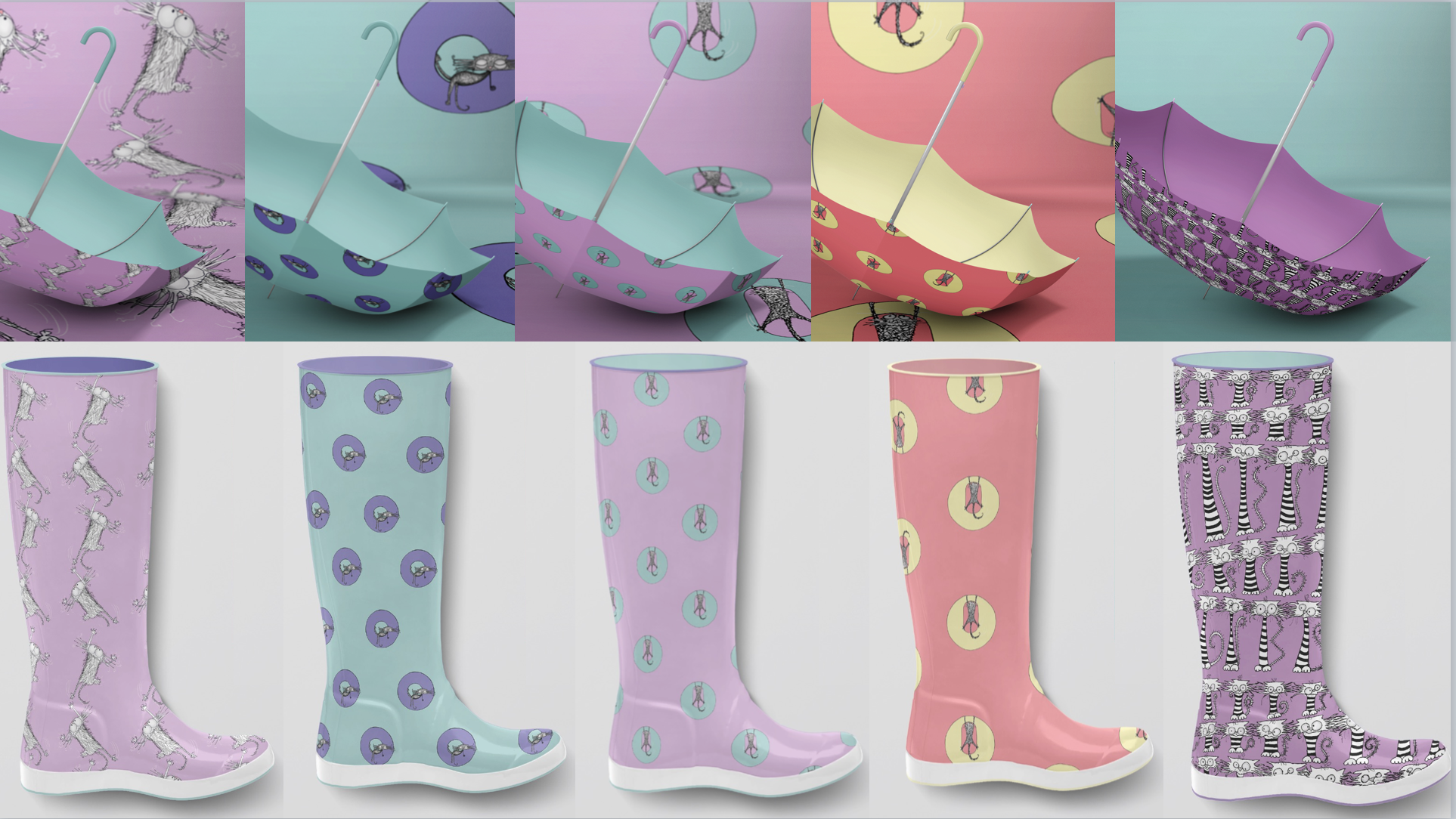 CAT DONT CARE   WELLIES & UMBRELLAS NATALIE PALMER SUTTON   ILLUSTRATION   GIFTS FOR CRAZY CAT LOVERS