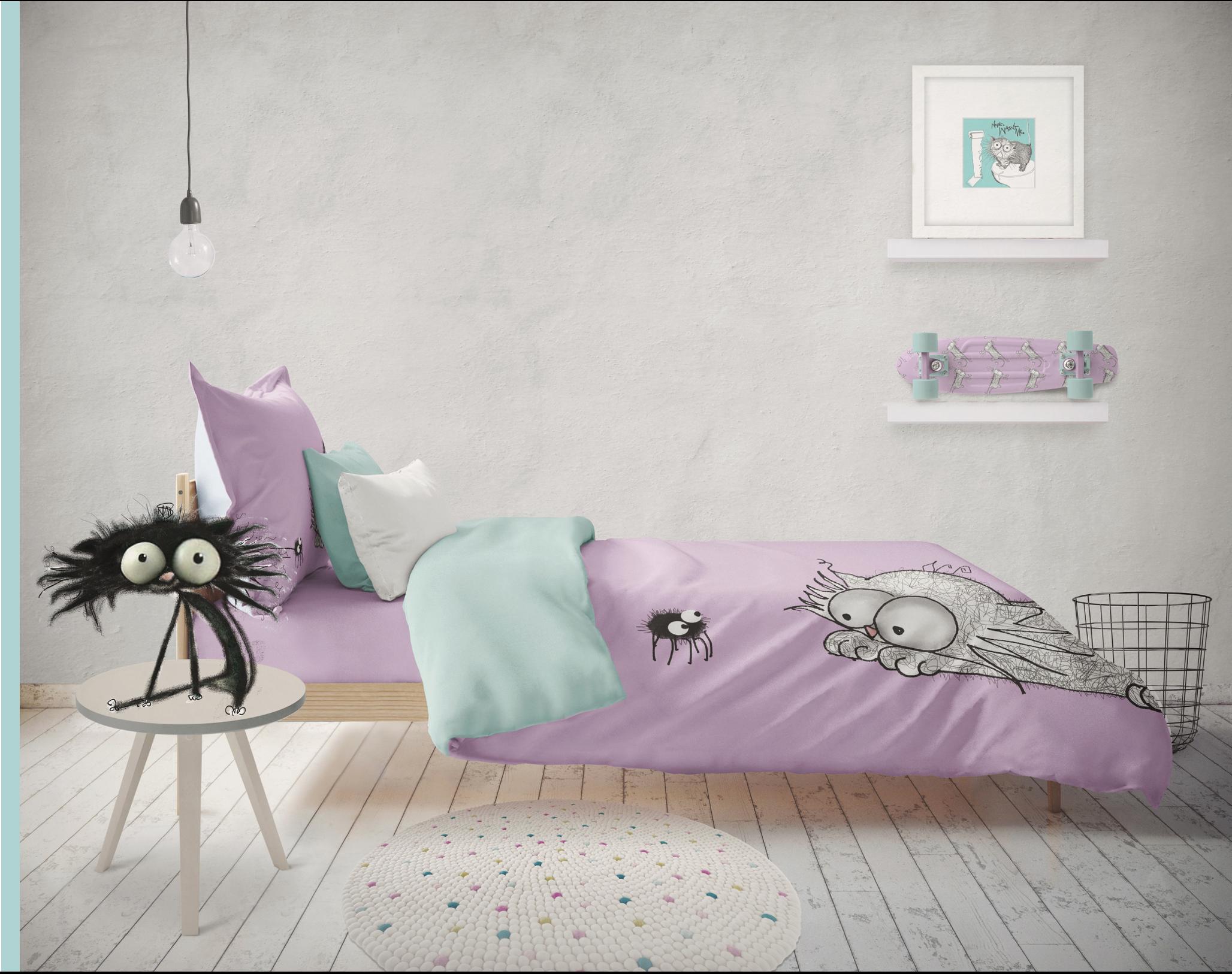 CAT DONT CARE | CAT & SPIDER DUVET - GIRLS BEDROOM | NATALIE PALMER SUTTON | ILLUSTRATION | GIFTS FOR CRAZY CAT LOVERS