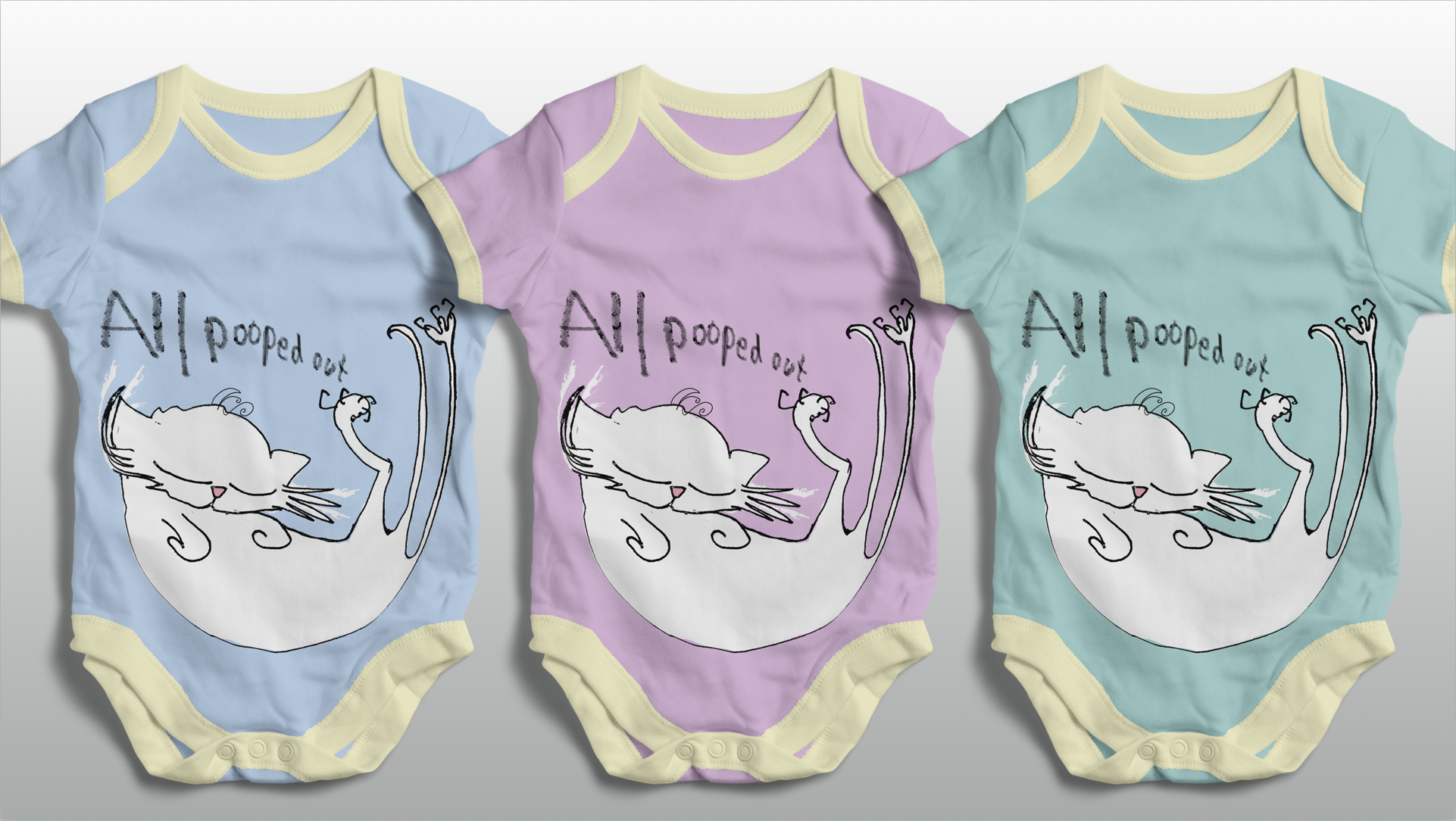 CAT DONT CARE | BABY SUITS VESTS 3 | NATALIE PALMER SUTTON | ILLUSTRATION | GIFTS FOR CRAZY CAT LOVERS