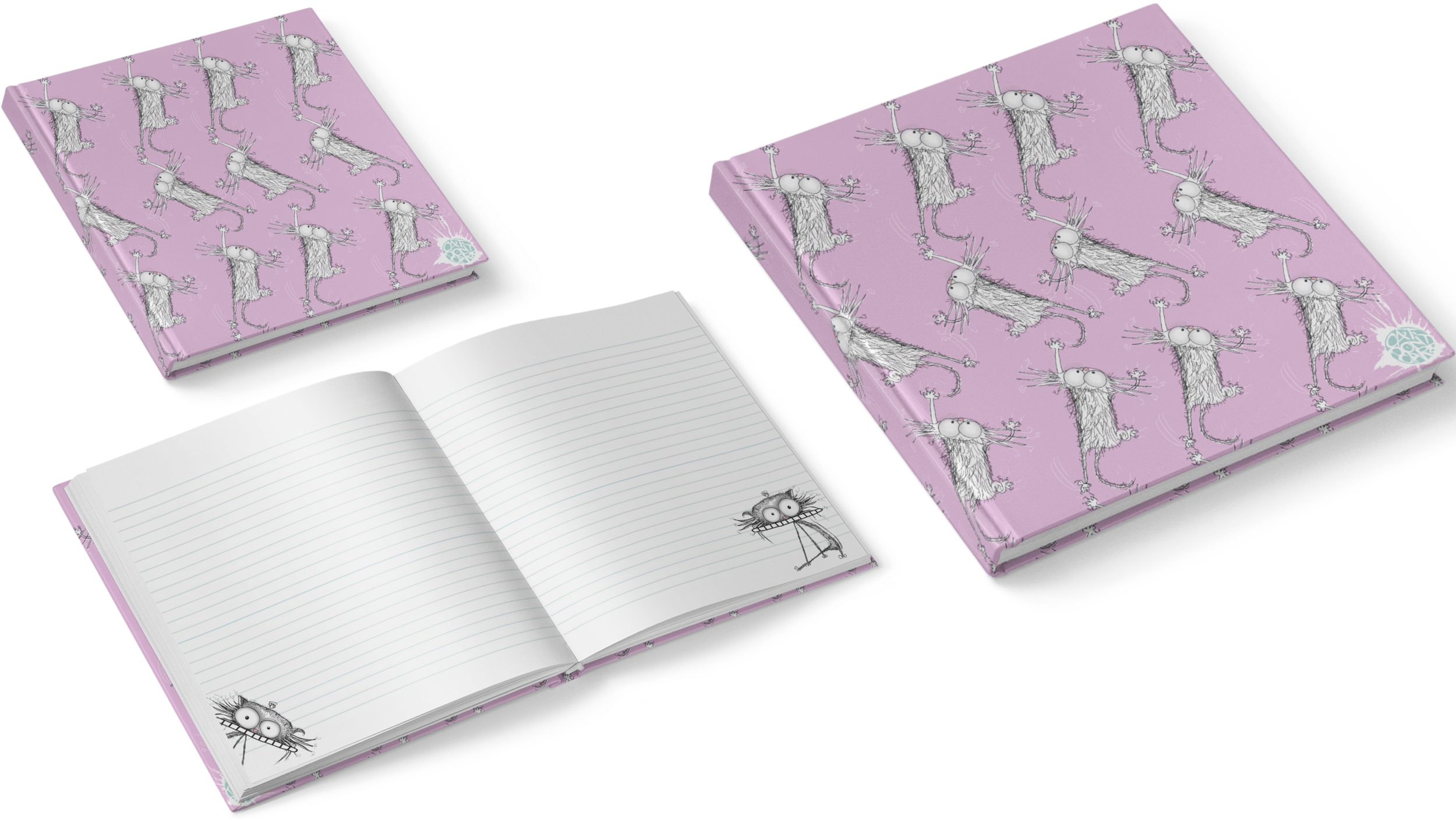 CAT DONT CARE   STATIONERY NOTEBOOKS 2   NATALIE PALMER SUTTON   ILLUSTRATION   GIFTS FOR CRAZY CAT LOVERS